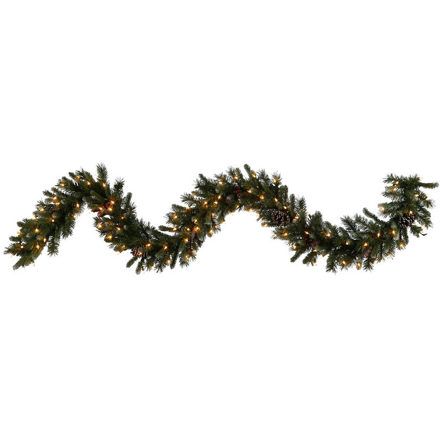 """Vickerman 9' x 14"""" Ashberry Garland Featuring Real Pine Cones, Berries, and 100 Clear Lights"""