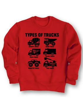 Types of Trucks Fire Monster Dump Truck Construction Toddler Crewneck Sweatshirt