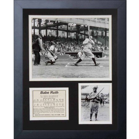 Legends Never Die  Babe Ruth At Bat  Framed Photo Collage  11  X 14