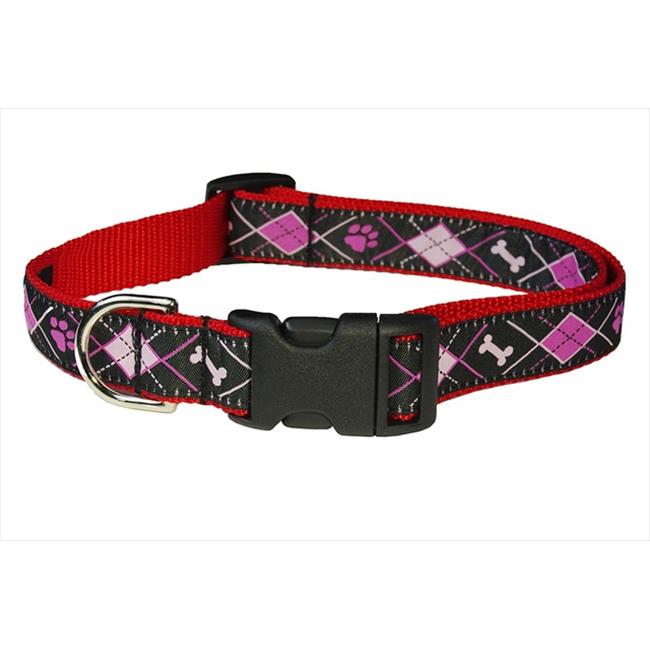 Argyle Dog Collar, Black - Small