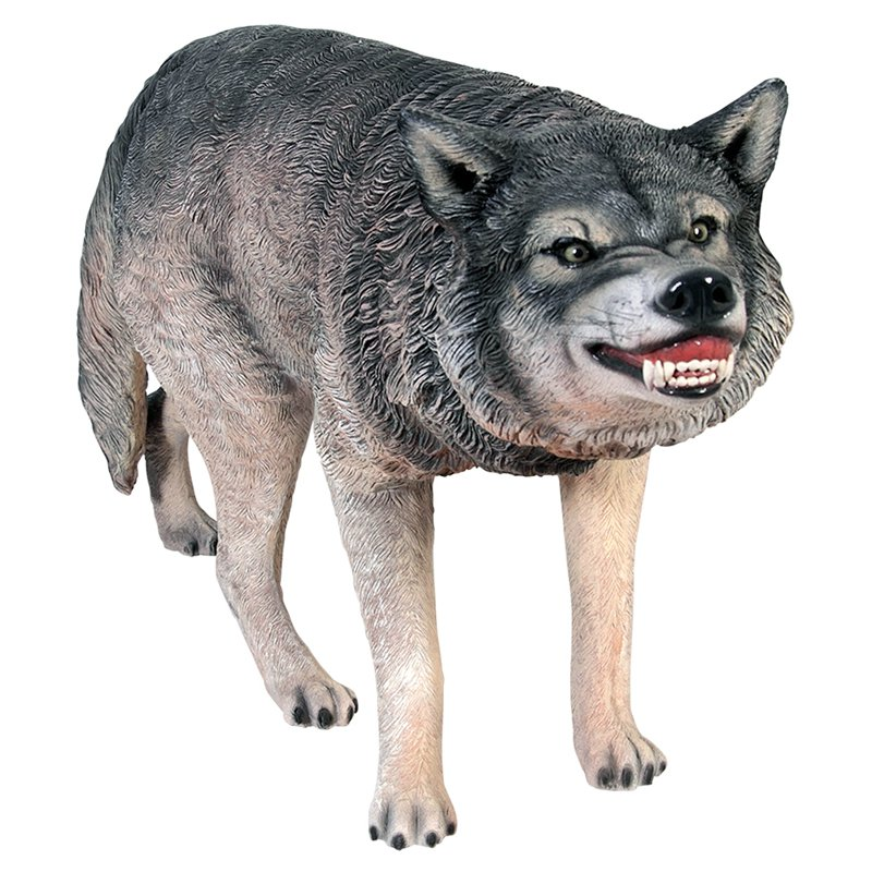 Design Toscano Call of the Wild Growling Gray Wolf Statue