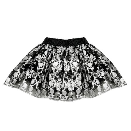 Punk Rock Hairstyles For Halloween (SeasonsTrading Skull & Crossbones Tulle Tutu Lined Skirt - Girls Pirate Vampire Witch Punk Rock Gothic Costume, Birthday Party, Cruise, Dance)