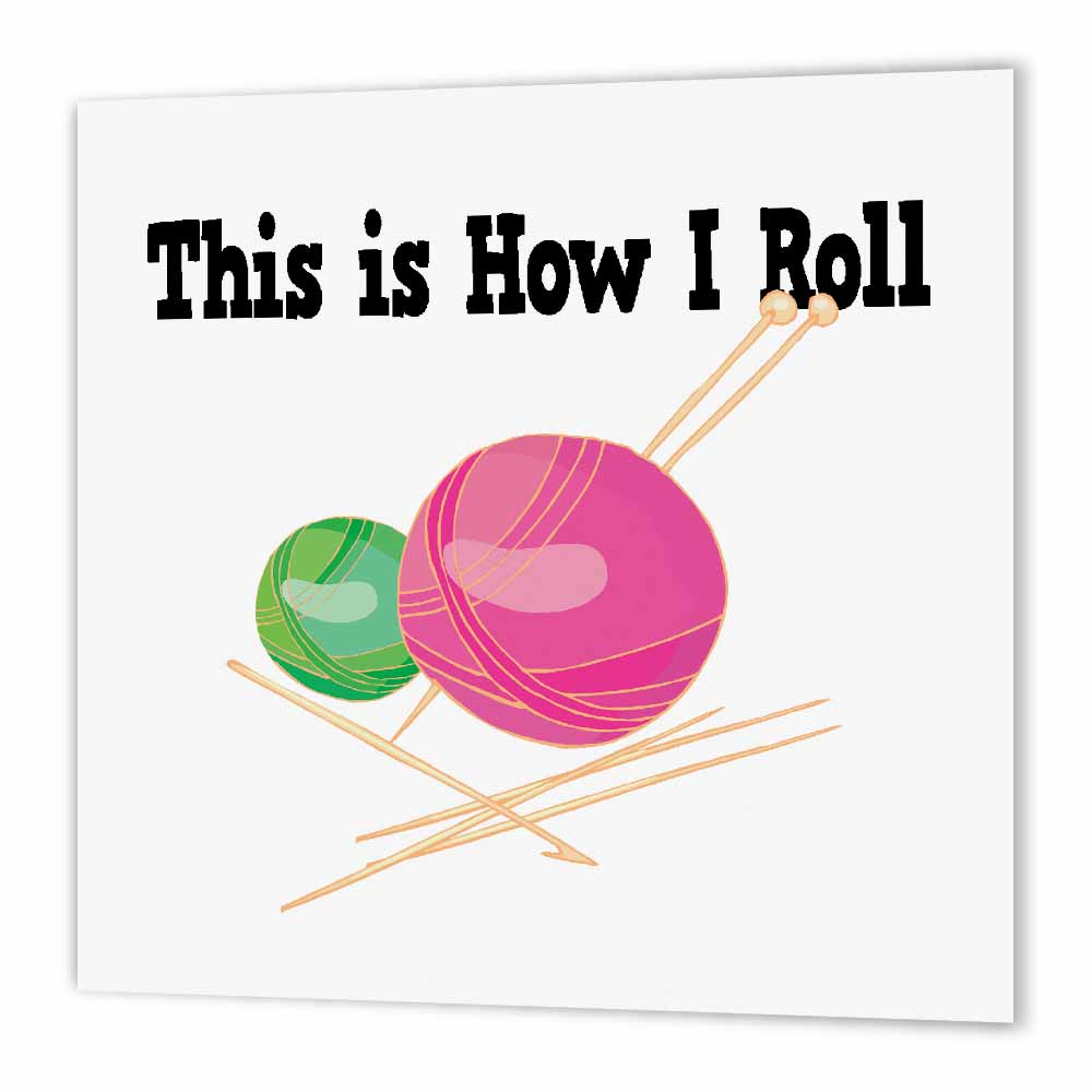 3dRose This Is How I Roll Balls of Yarn Knitting Design, Iron On Heat Transfer, 8 by 8-inch, For White Material