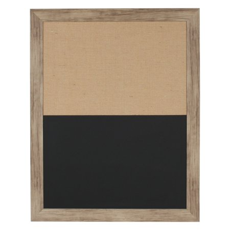 DesignOvation Beatrice Combination Magnetic Chalkboard and Fabric Pinboard Wall Organization Board