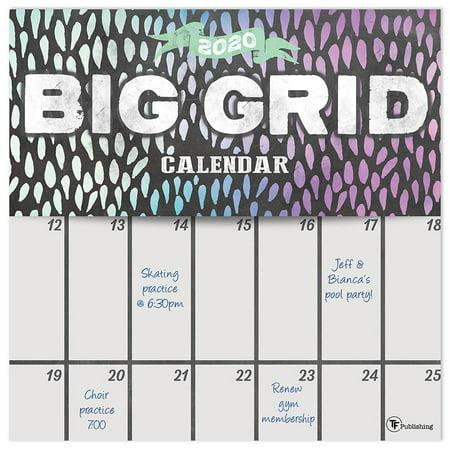 2020 Big Grid - Chalk Wall Calendar (Big Bang Wall Calendar)