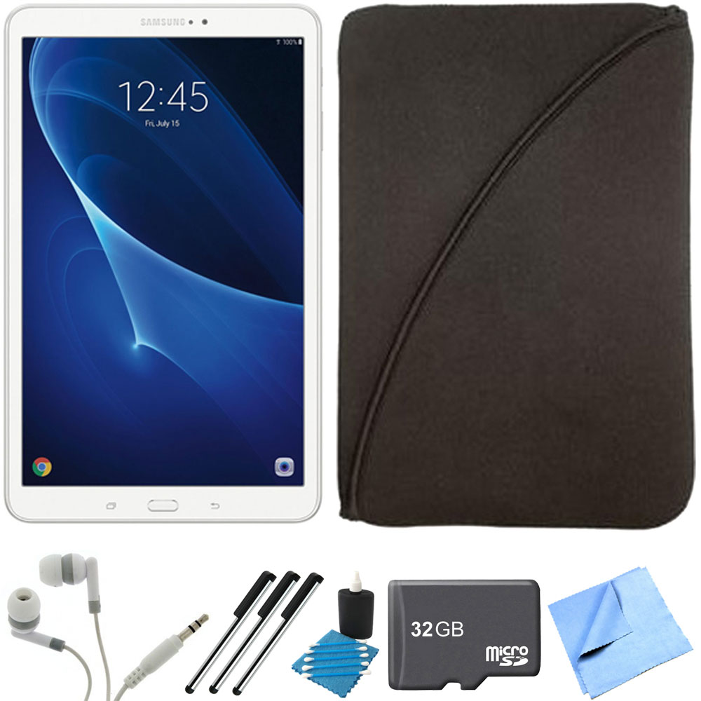 Samsung Galaxy Tab A 16GB 10.1-inch Tablet & Accessories Bundle includes Tablet, 32GB microSD Memory Card, 3 Stylus Pens, Protective Sleeve, Metal Ear Buds, Cleaning Kit and Microfiber Cloth