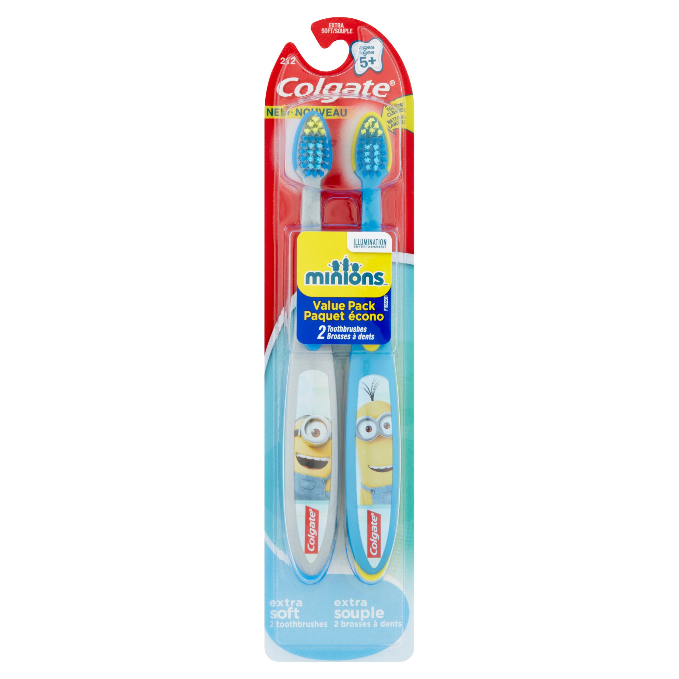 Colgate Minions Extra Soft Toothbrushes Kids 5+ Value Pack, 2 count