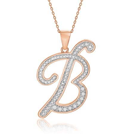 Hanging Diamond Necklace (Rose Goldtone Diamond Accent Intial)