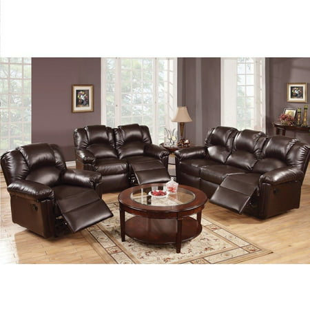 3 Pc Modern Espresso Bonded Leather Sofa Loveseat Glider Recliner Set For Living Room