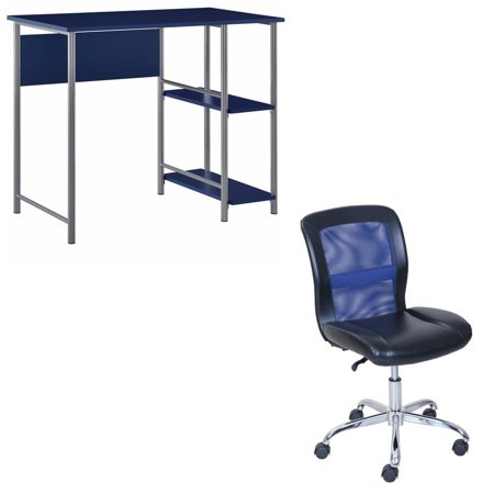 Caressoft Vinyl Chair (Desk and Chair Set: Mainstays basic metal student desk and Mainstays vinyl and mesh task chair, multiple colors)