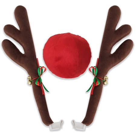 OxGord Reindeer Antlers and Red Rudolph Nose Universal Christmas Holiday Car Costume Decoration](Reindeer Car Antlers)