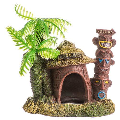 Exotic Environments Betta Hut with Palm Tree Aquarium Ornament 4-in L x 2.75-in W x 3.25-in H