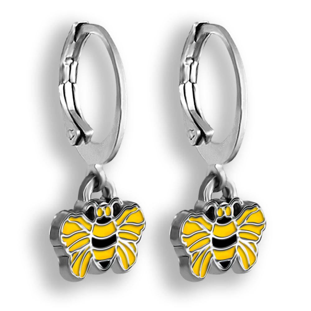 Bee Earrings Bee Jewelry Kids Earrings Sterling Silver Honey Bee Jewelry Enamel Earrings Bumble Bee Jewelry Insect Earrings Easter Gifts