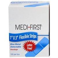 "1"" x 3"" Blue Metal Detectable Cloth Strip Bandages 100/Box"