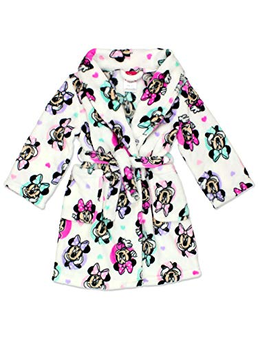 Minnie Mouse Girl's Plush Fleece Bathrobe Robe (4, White)
