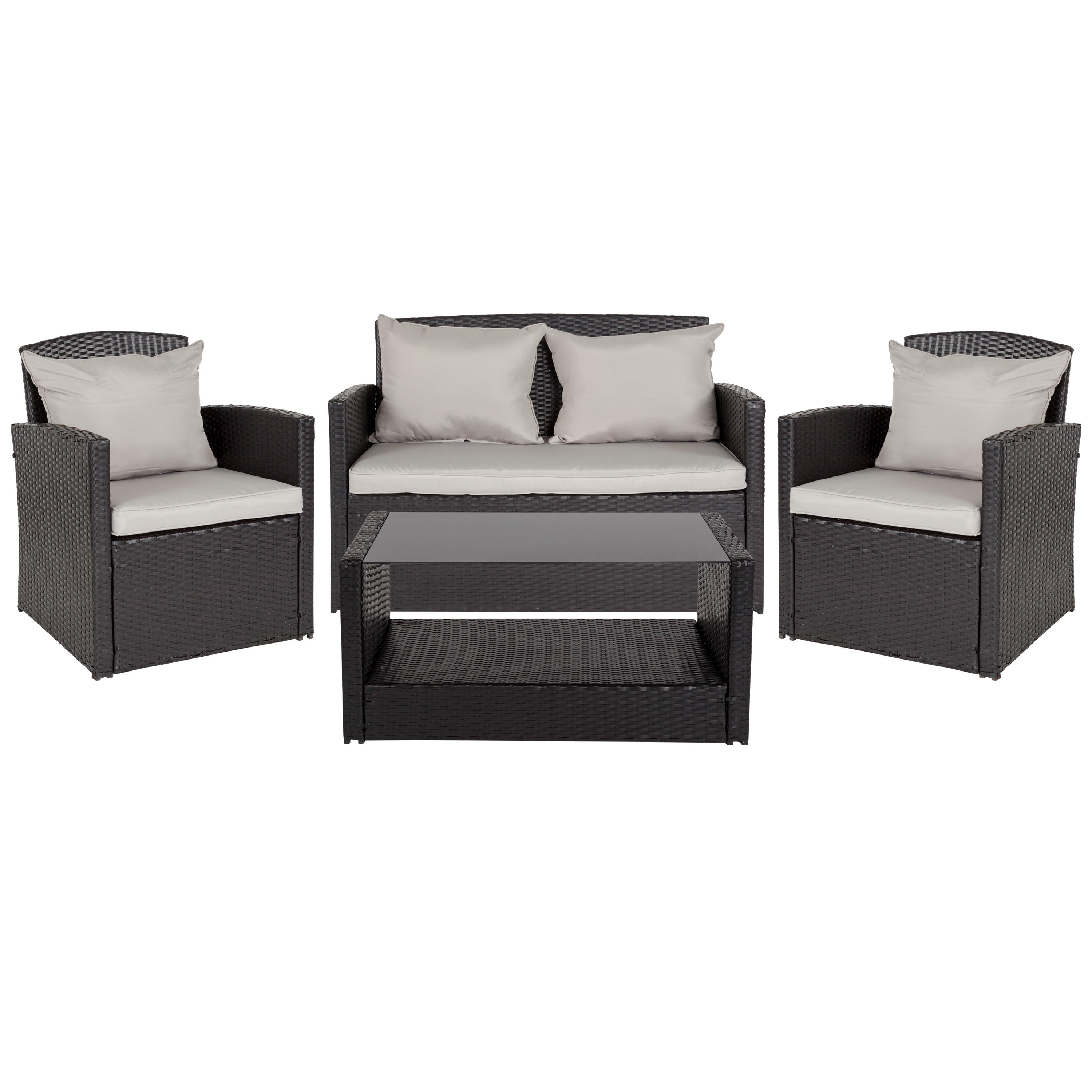 Groovy Flash Furniture Aransas Series 4 Piece Black Patio Set With Gray Back Pillows And Seat Cushions Download Free Architecture Designs Grimeyleaguecom