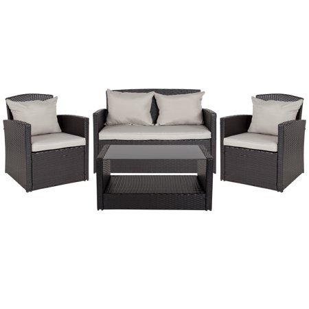 Flash Furniture Aransas Series 4 Piece Black Patio Set with Gray Back Pillows and Seat Cushions ()
