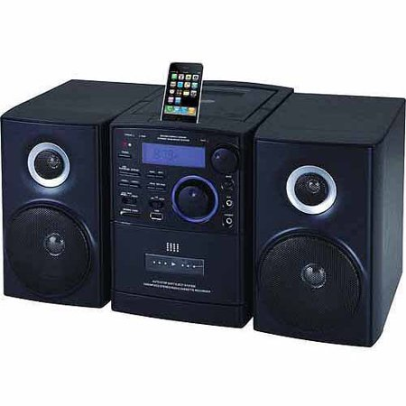 Supersonic MP3 CD Player with iPod Docking, USB SD AUX Inputs, Cassette Recorder & AM FM Radio by