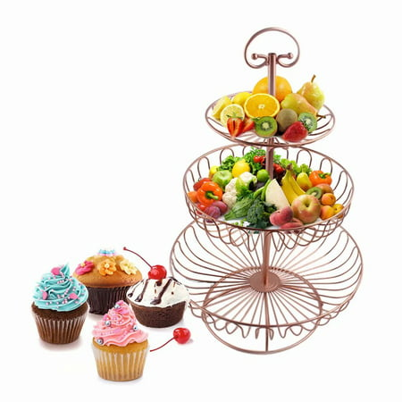 3-Tier Metal Transparent Cake Fruit Dessert Stand Rack Tower Wedding Birthday Party Display