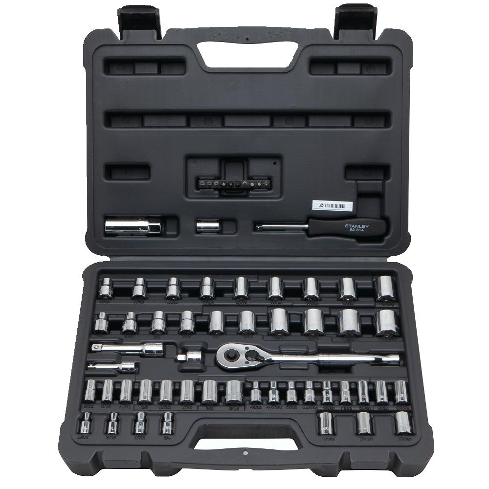 Stanley 50 Pc Socket Set 1/4 Inch & 3/8 Drives