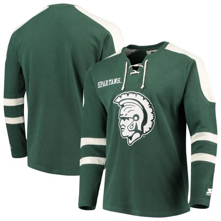 Michigan State Spartans Starter Throwback Lace-Up Sweater - Green/White