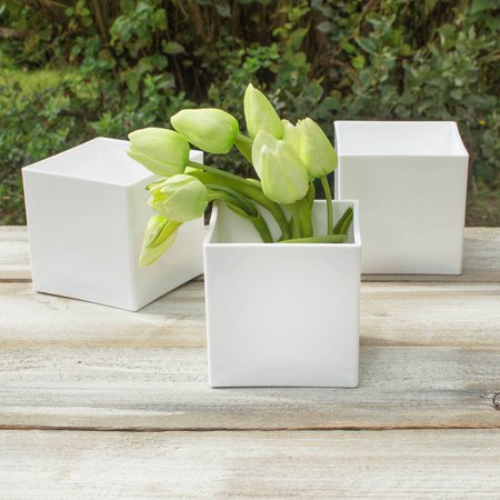 Vases Square Vase 4 In X 4 In Plastic Floral White Event Pack Of 24