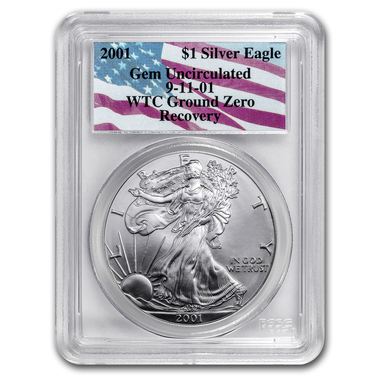 2001 Silver Eagle Gem Unc PCGS (WTC, Ground Zero Recovery)