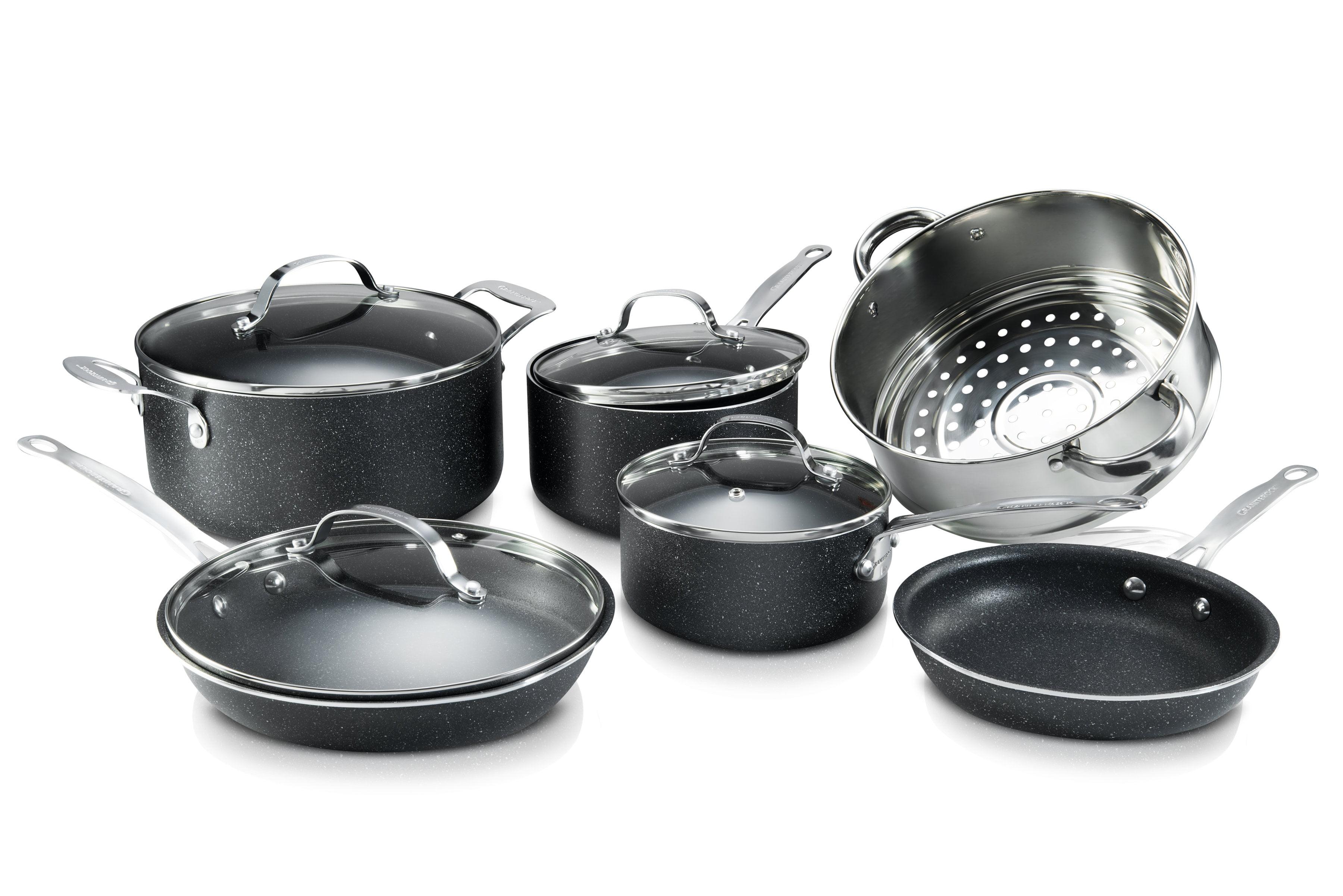 GraniteRock 10-Piece Non-Stick Ultra Durable, Mineral & Granite Coated Scratch Proof Cookware...