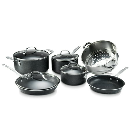 Granite Stone 10-Piece Nonstick Pots and Pans Cookware Set, Ultimate Durability And Nonstick with Mineral & Diamond Triple Coated