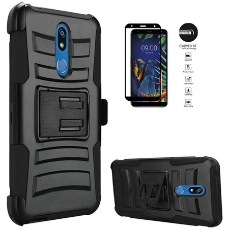 - Phone Case for Straight Talk LG Solo L423DL / LG K40 / LG K12 Plus/LG X4 (2019), Heavy Duty Shockproof Holster Case Cover and Swivel Belt Clip + Tempered Glass Screen Protector (Black)
