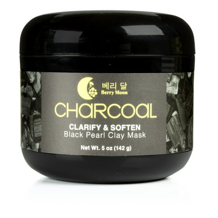 Korean Face Mask by Berry Moon, Anti-aging Charcoal Clay Mask for oily skin, congested T-zone, blackheads, enlarged pores, dark spots. With Vitamin C and Green Tea. Large 5oz