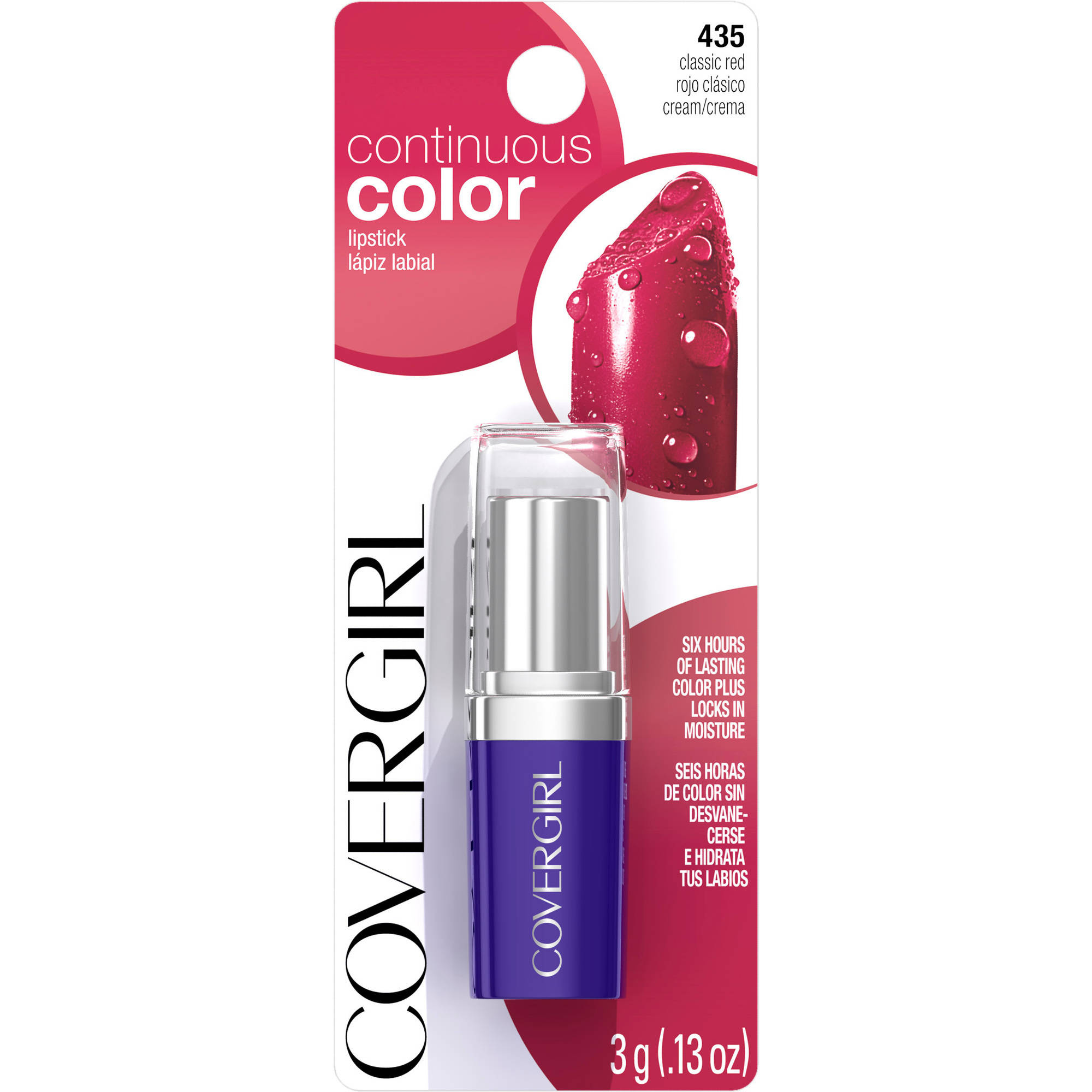 COVERGIRL Continuous Color Lipstick Classic Red 435, 0.13 oz