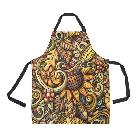 - ASHLEIGH Kitchen Aprons Autumn Corn Sunflower Adjustable Bib Apron with Pockets for Women Men