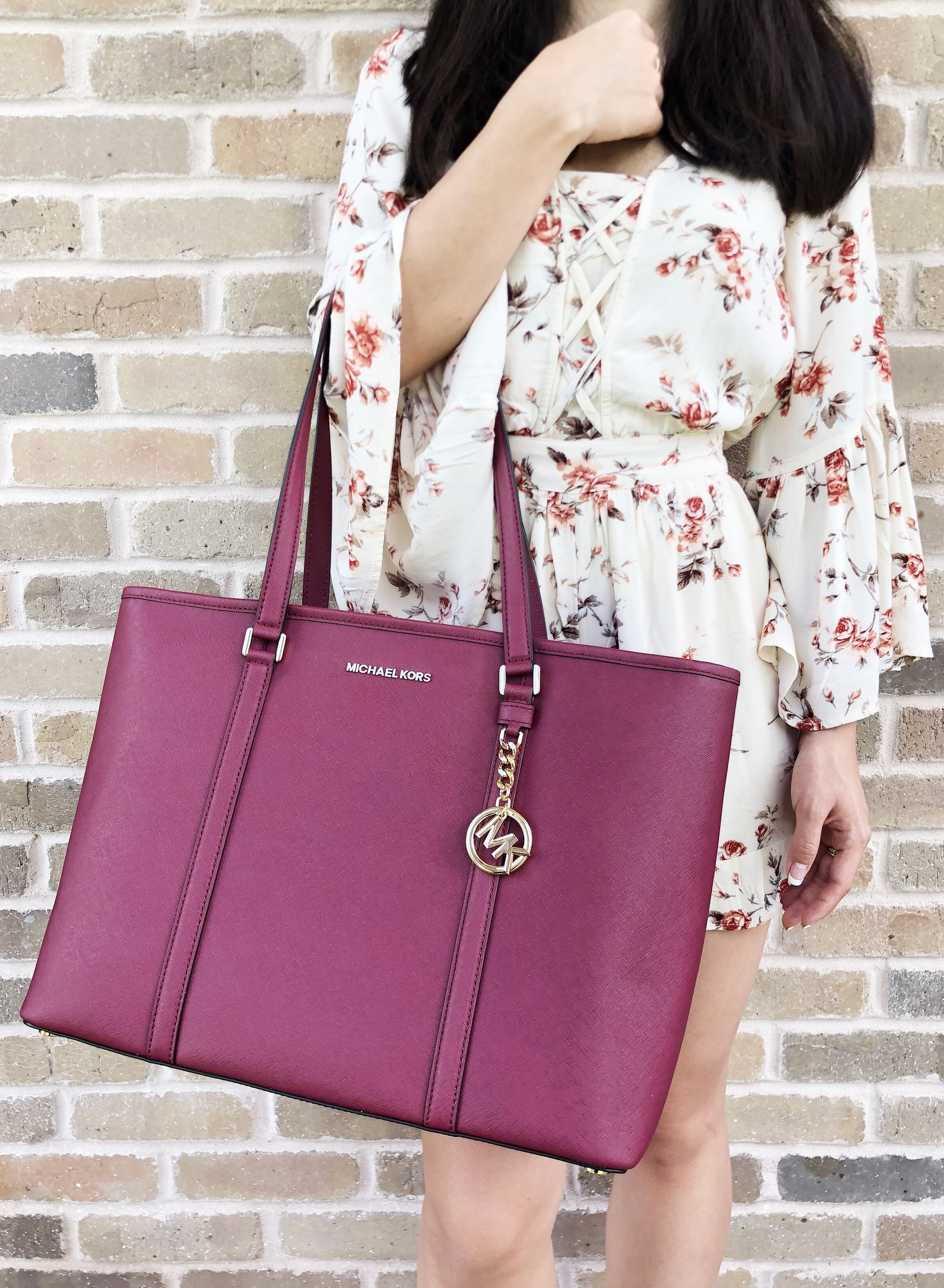 b52ad11d4d Michael Kors Sady Large Multifunctional Top Zip Tote Mulberry Burgundy  Laptop - Walmart.com