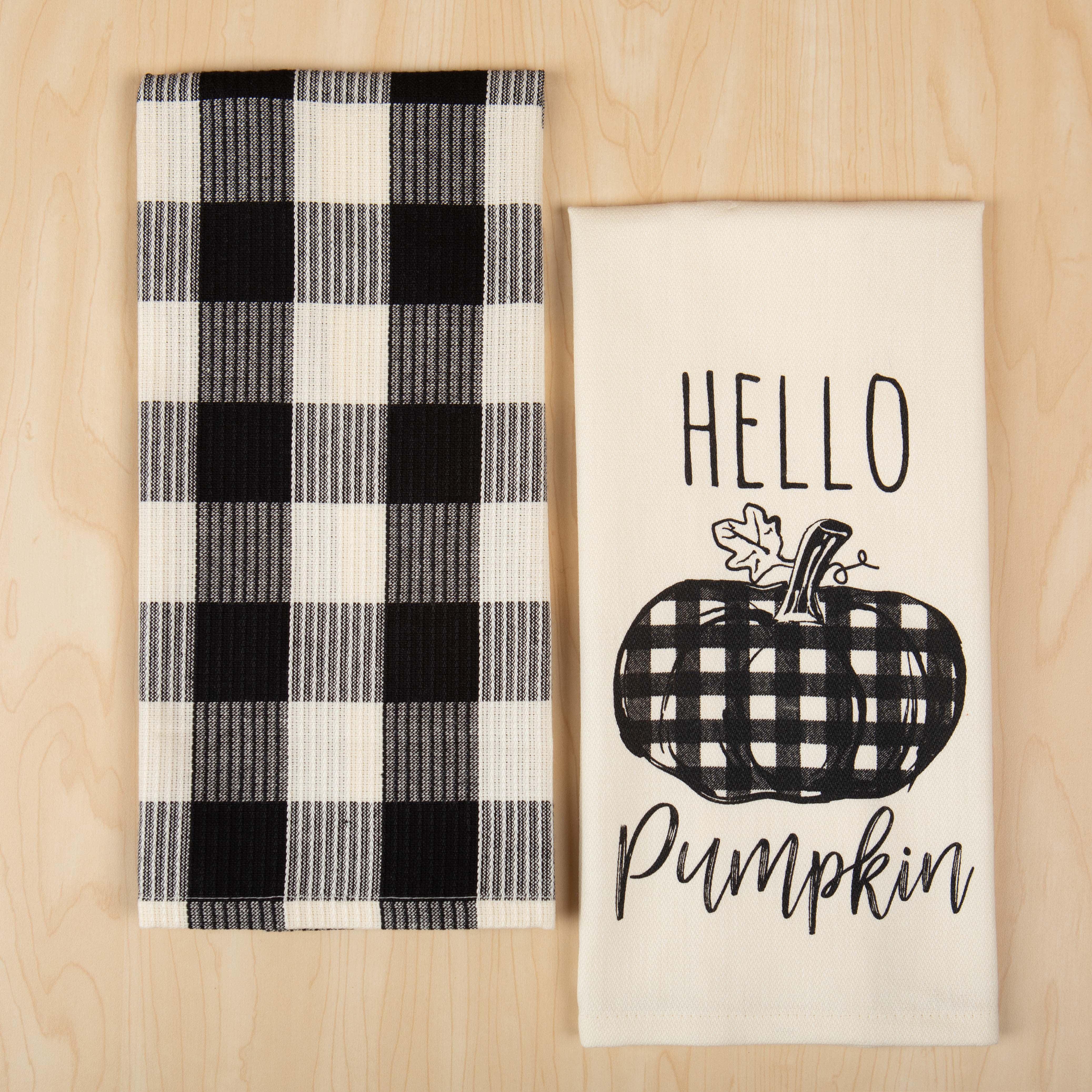 Way To Celebrate Cotton Hello Pumpkin Kitchen Towel 2 Count Walmart Com Walmart Com