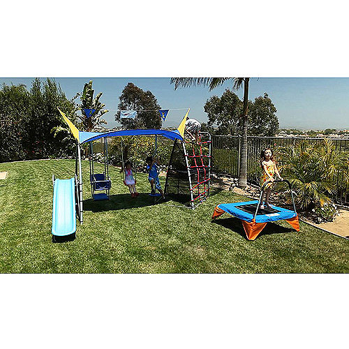 IronKids Inspiration 800 Total Fitness Playground Metal Swing Set with UV Protective Shade
