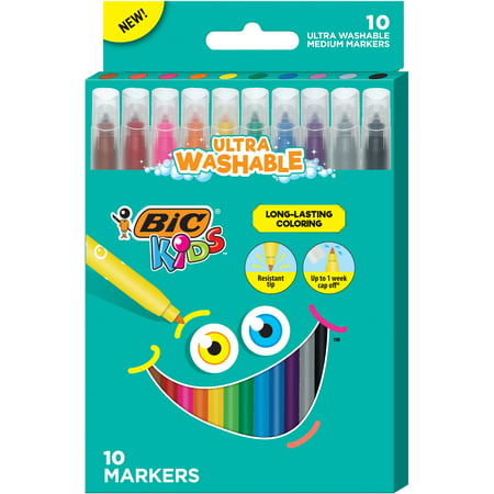 BIC Kids Coloring Markers, Medium, Assorted Colors -- Pack of 10 Washable Markers