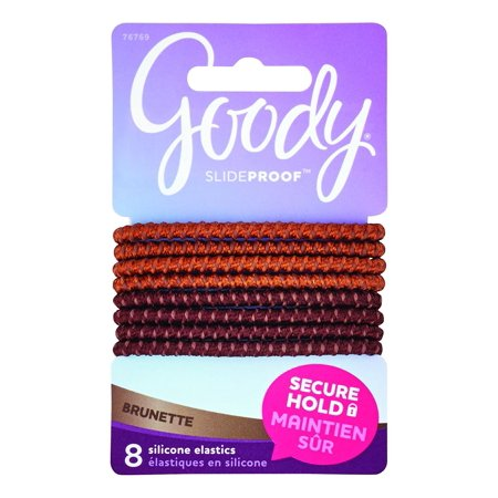 Goody SlideProof Silicone Hair Tie Elastics, Brunette, 8-count (1942461), Goody SlideProof hair accessories give you one less thing to worry about..., By Goody Colour Collection Ship from US