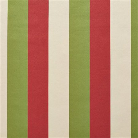 1204 Satin (54 in. Wide Red, Green And Ivory Thick 3 Color Stripes Silk Satin Upholstery Fabric)