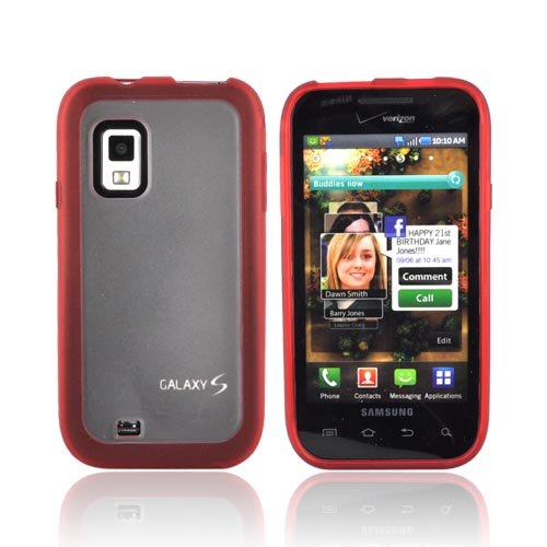 Verizon Dual Cover Case for Samsung Galaxy S Fascinate SCH-I500 (Red/Clear)