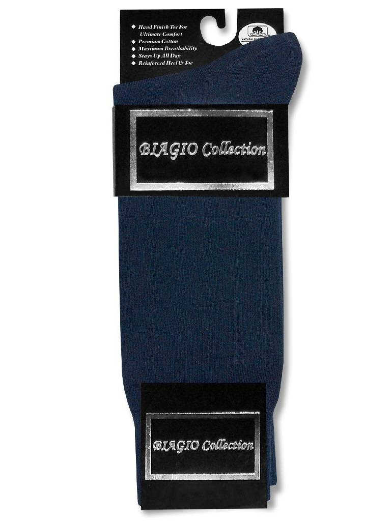 1 Pair of Biagio Solid NAVY BLUE Color Men's COTTON Dress SOCKS
