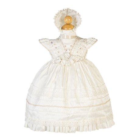 Pintuck Gown (Alegria Kids Girls Beige Pintuck Detail Bonnet Stylish Baptism Dress )