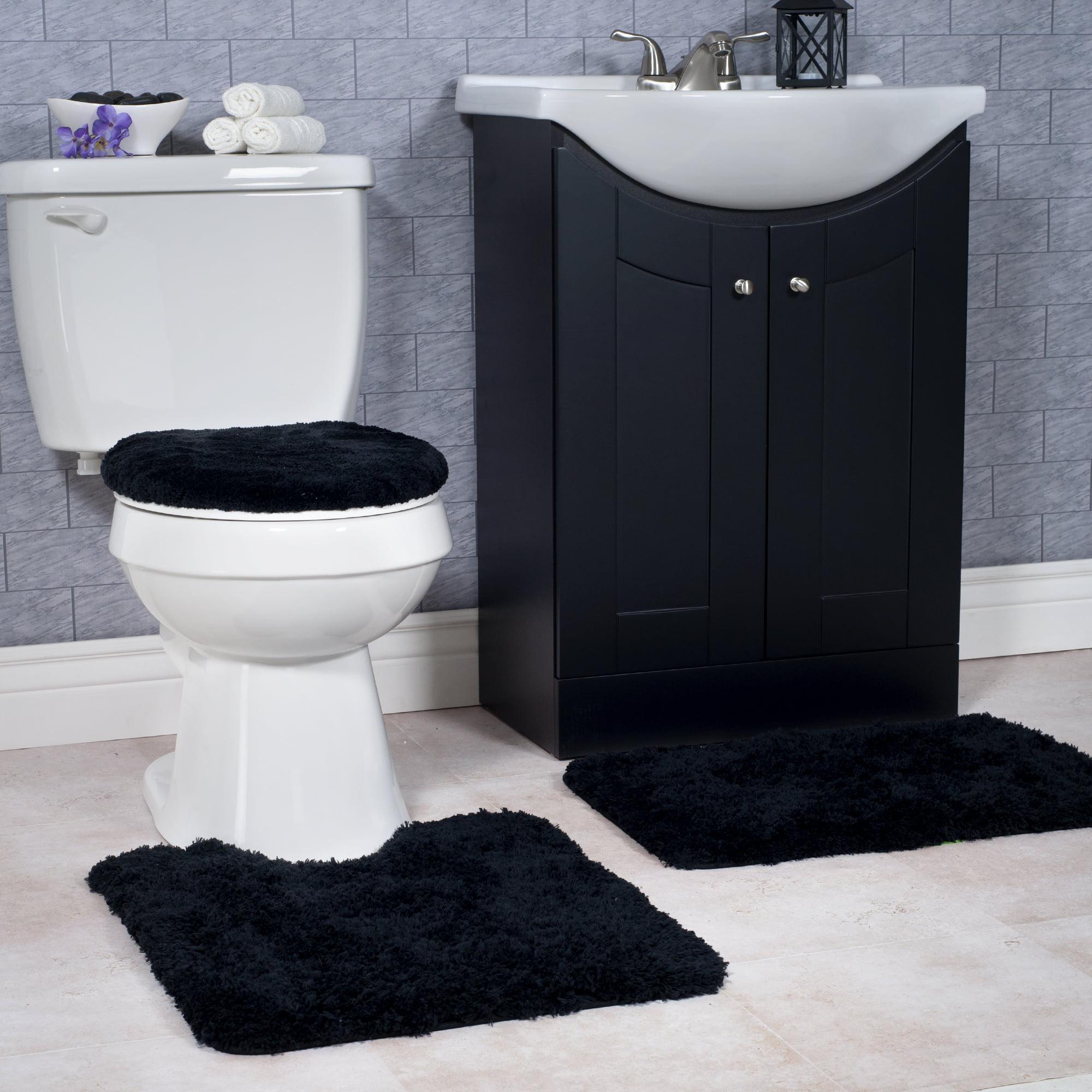 Somerset Home 3 Piece Super Plush Non-Slip Bath Rug Set - Black