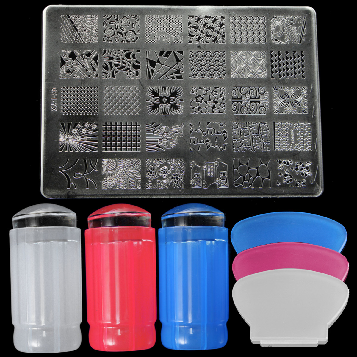 DANCINGNAIL Nail Art Stamping Stamper Kit With Image Plate Scraper Manicure Tool Set
