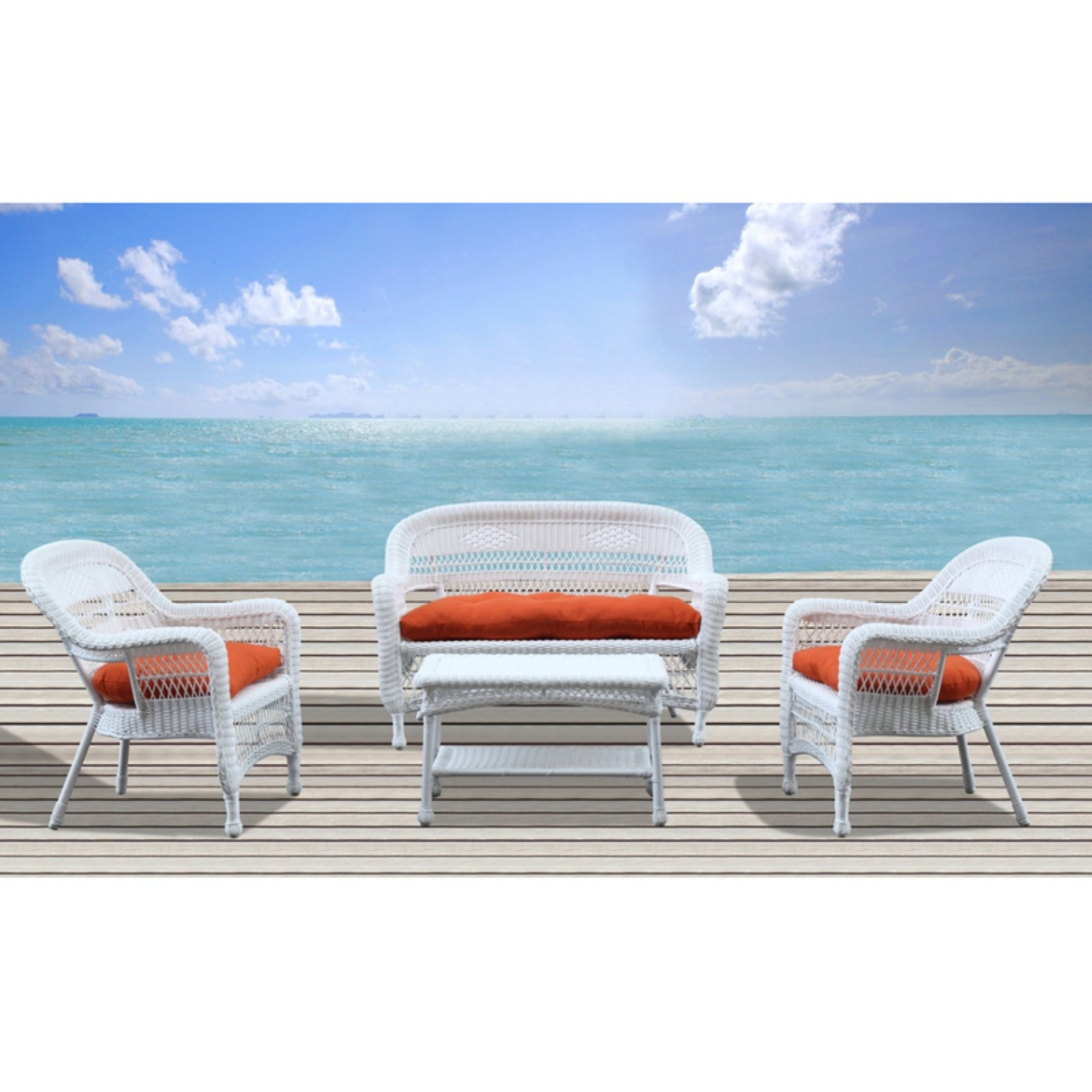 Fine Mod Imports Portside 4 Piece Outdoor Set with Cushions