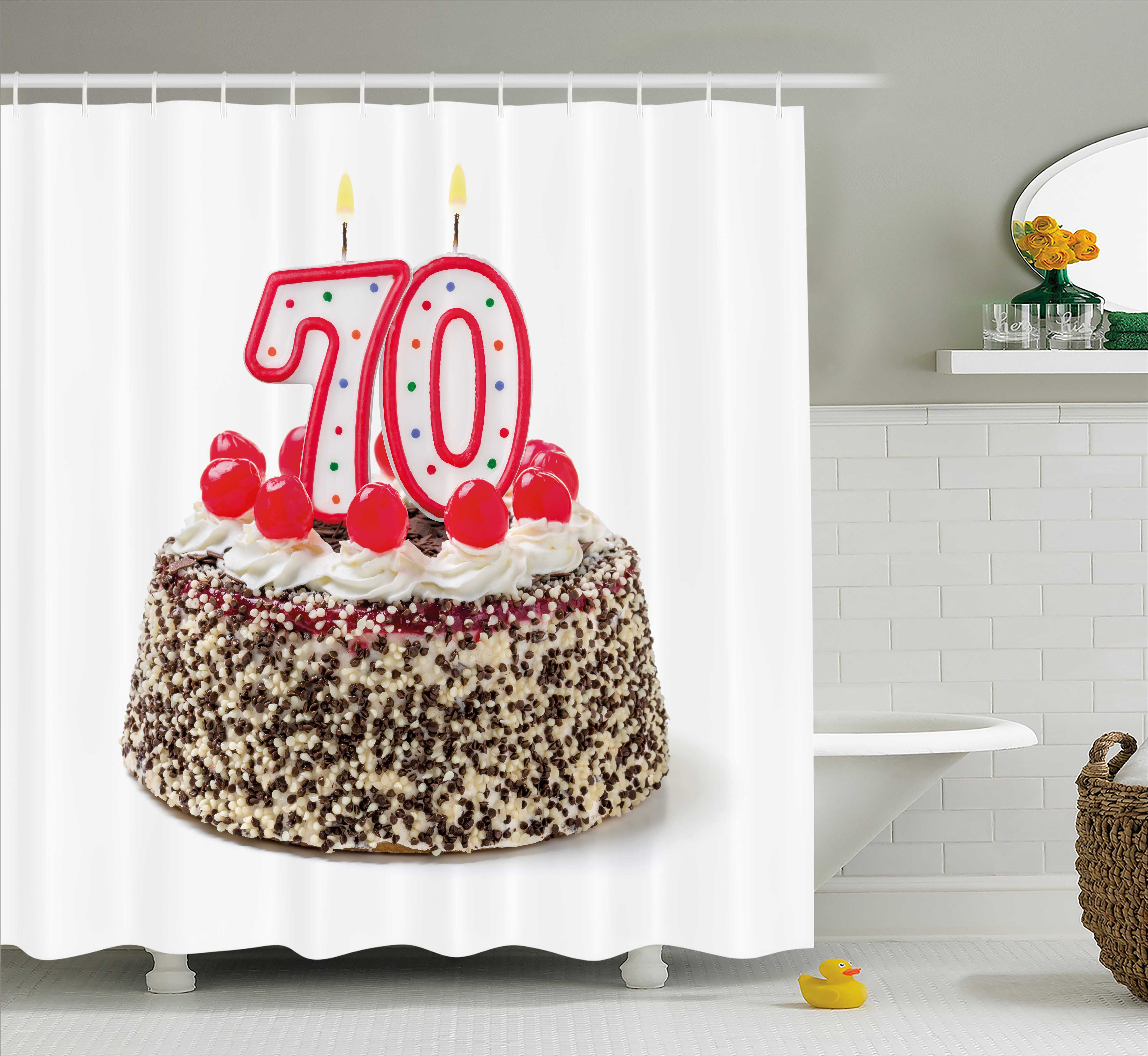 70th Birthday Decorations Shower Curtain Cake With 70 Number Candles Sprinkles Party Photo Image Fabric Bathroom Set Hooks 69W X 70L Inches