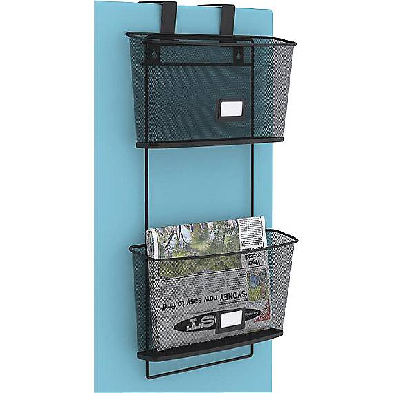 Hanging Wall Files staples wire mesh 2-pocket hanging wall file, letter size, black
