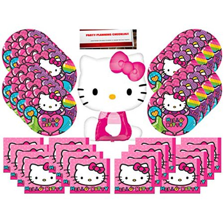 Hello Kitty Party Supplies Bundle Pack for 16 (Bonus 14 Inch Balloon Plus Party Planning Checklist by Mikes Super - Hello Kitty Party Supplies Party City