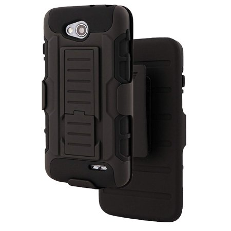 For LG Optimus L90 - Wydan Hybrid Heavy Duty All Around Protection Shock Resistant Tank Holster Kickstand Phone Case with Holster Belt Clip Cover in Black ()
