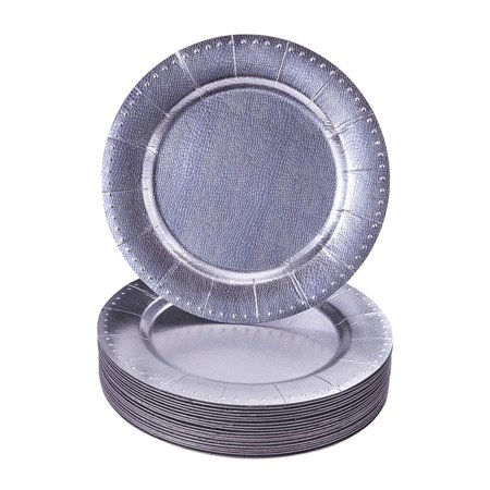 Paper Chargers For Plates (DISPOSABLE ROUND CHARGER PLATES - 20pc)